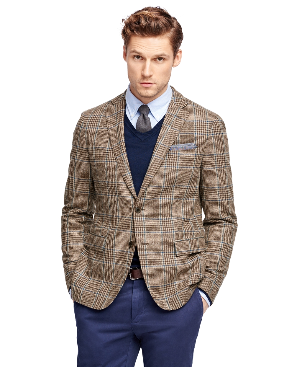 Wear to what with brown plaid blazer photo