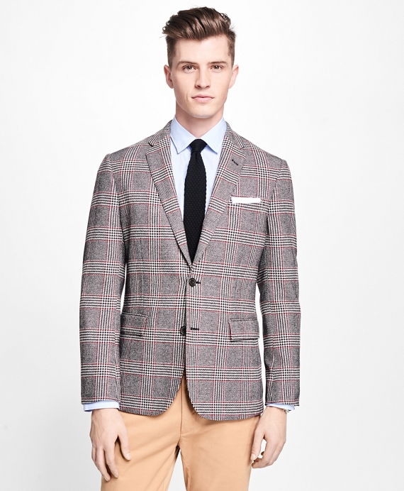 Two-Button Plaid with Deco Sport Coat Black-White