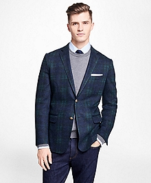 Black Watch Tartan Stretch-Wool Knit Blazer