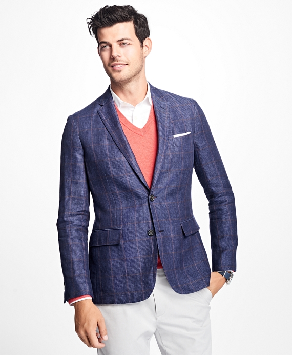 Two-Button Windowpane Linen Sport Coat Navy