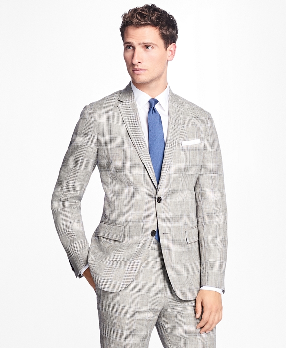 Plaid-Houndstooth Linen Sport Coat Brown