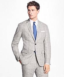 Plaid-Houndstooth Linen Sport Coat