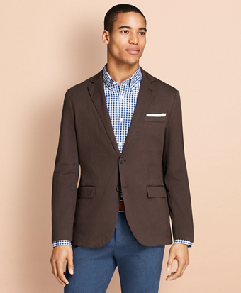 Garment-Dyed Stretch Cotton Dobby Sport Coat