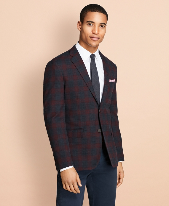 Plaid Stretch-Cotton Sport Coat Navy