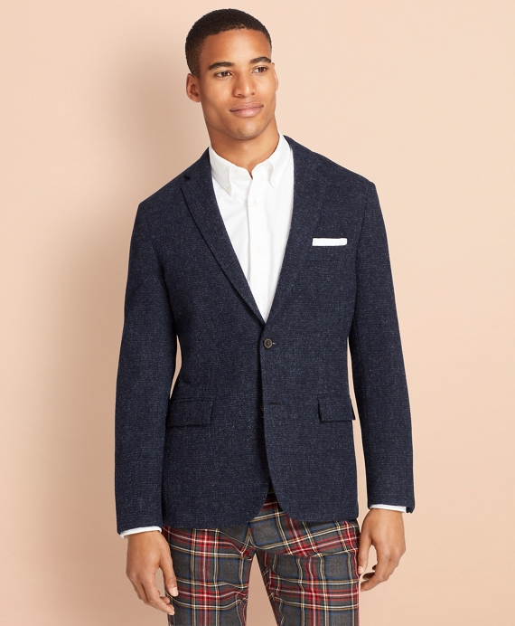 Textured Wool Tweed Sport Coat Blue