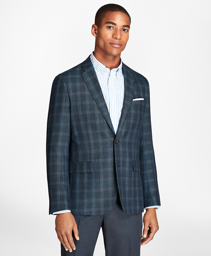 Windowpane Wool Linen Twill Sport Coat