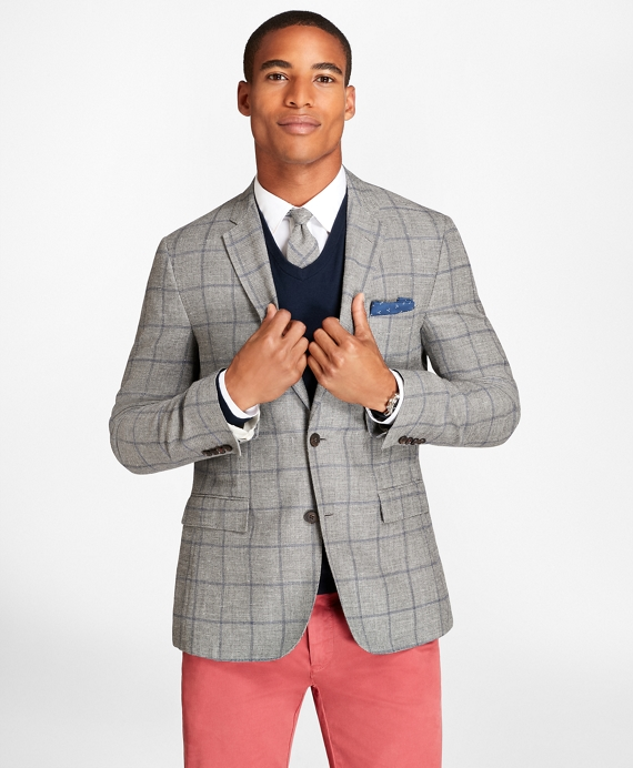 Windowpane Wool Linen Twill Sport Coat Grey