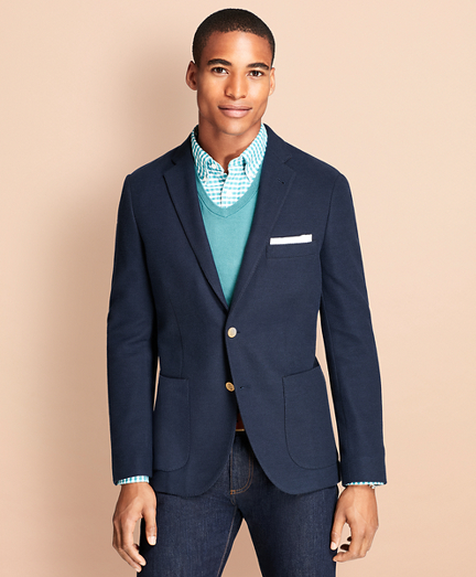 Honeycomb-Knit Cotton Blazer