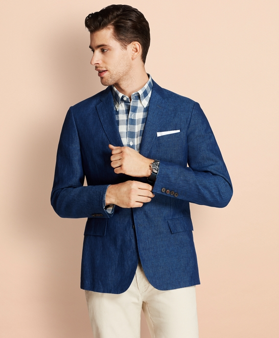 Two-Button Linen Sport Coat Blue