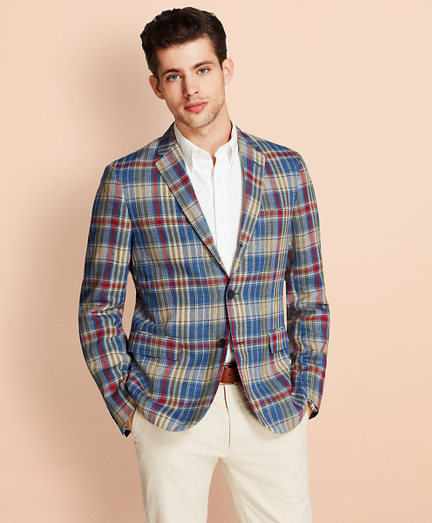 Plaid Three-Button Linen Twill Sport Coat