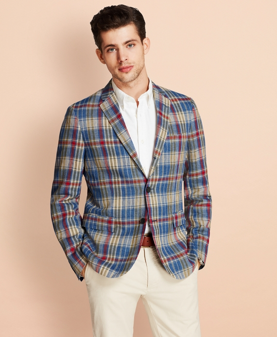 Plaid Three-Button Linen Twill Sport Coat Blue-Green