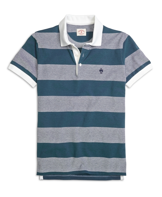 Wide Stripe Polo Shirt Grey-Navy