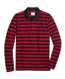Long-Sleeve Stripe Polo