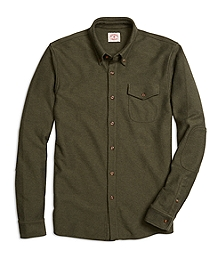 Long-Sleeve Button-Down Knit Shirt