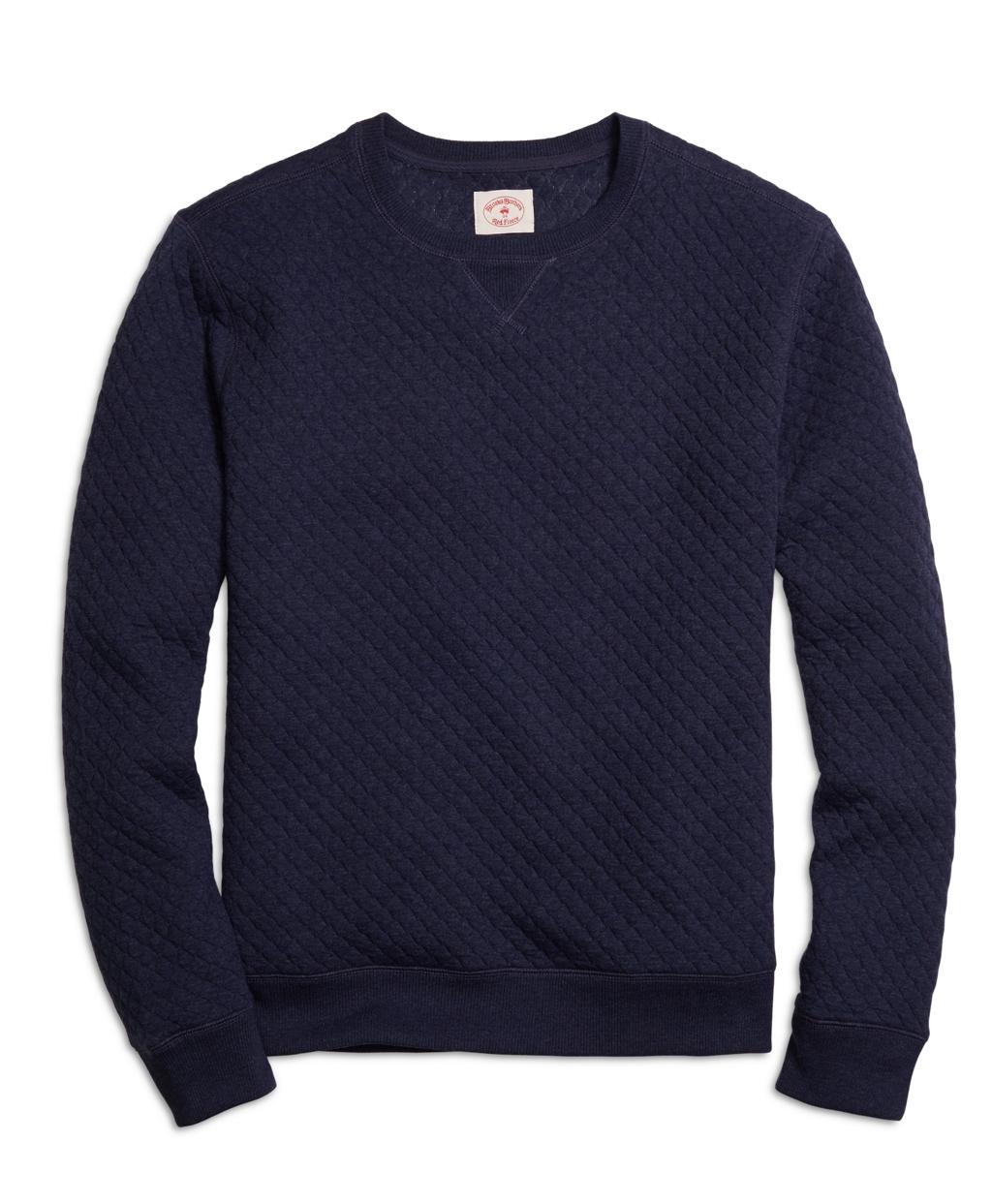 Men's Navy Jacquard Quilted Crewneck Sweatshirt | Brooks Brothers