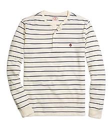 Long-Sleeve Stripe Henley Shirt