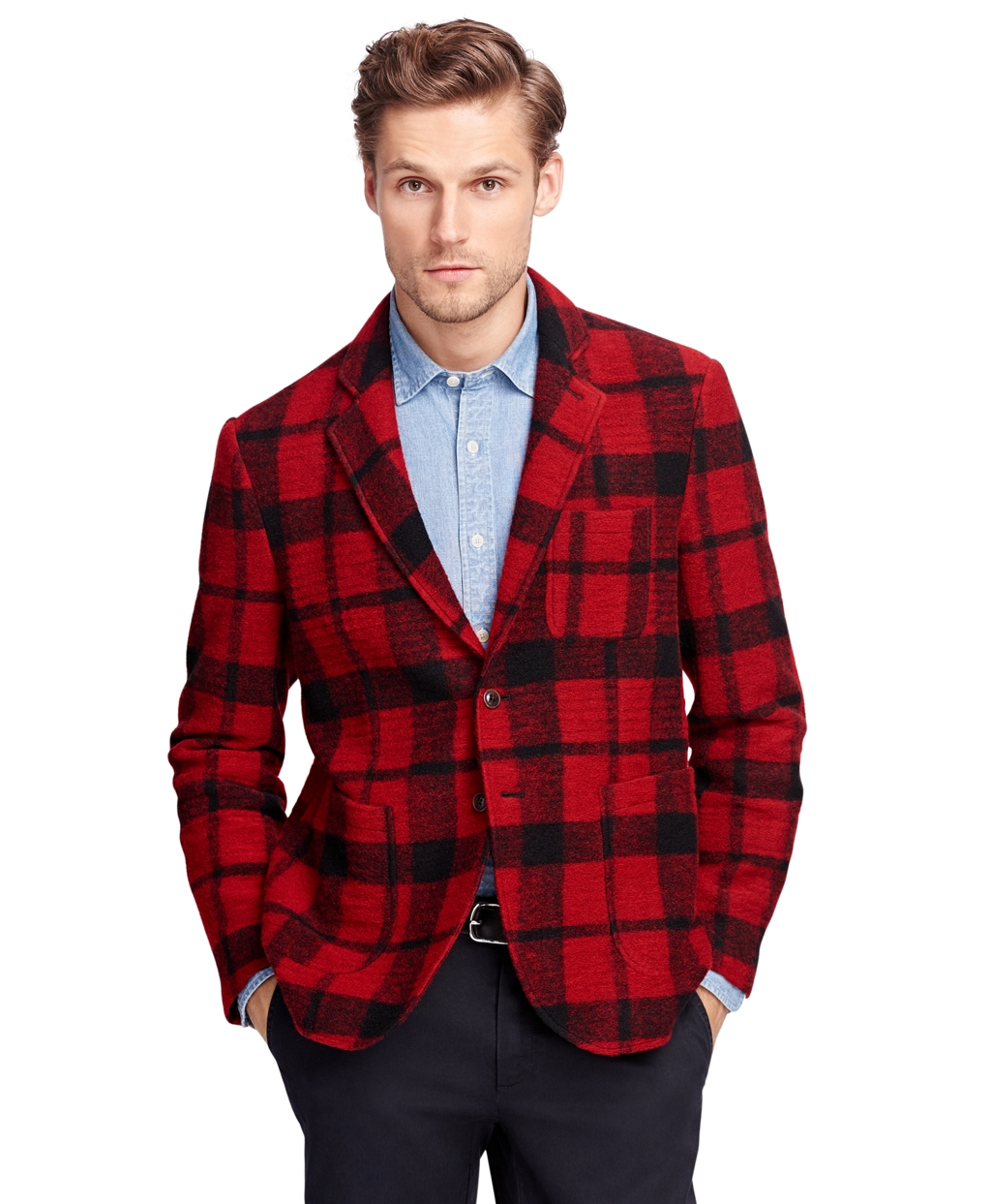 Men's Red and Black Check Knit Blazer | Brooks Brothers