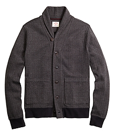 Shawl Collar Herringbone Cardigan