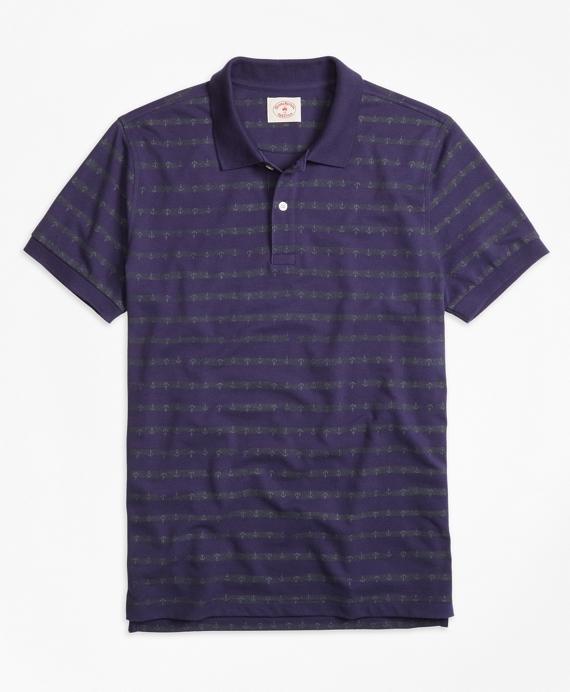 Anchor Stripe Polo Shirt Navy