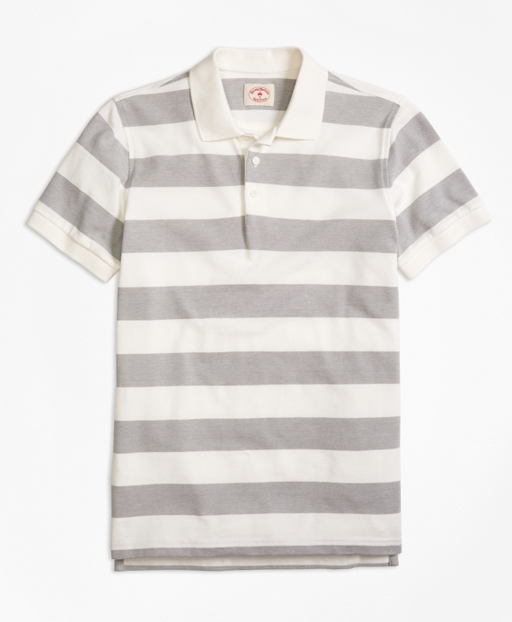 Wide Rugby Stripe Polo Shirt Grey-White
