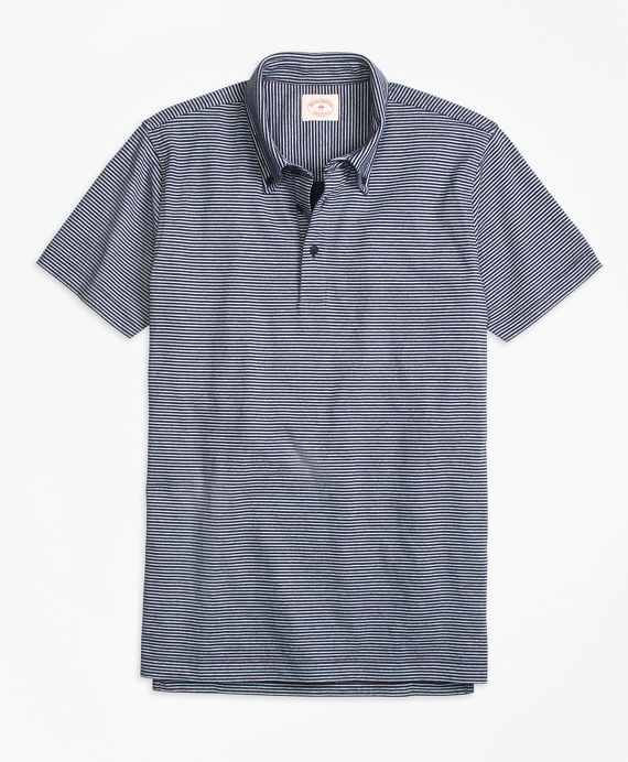 Micro Stripe Polo Shirt Navy