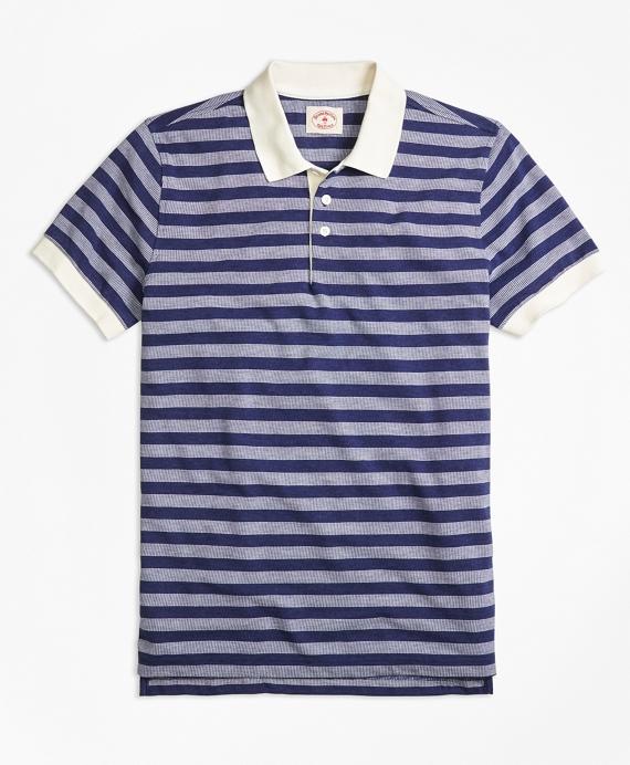 Dobby Stripe Polo Shirt Blue