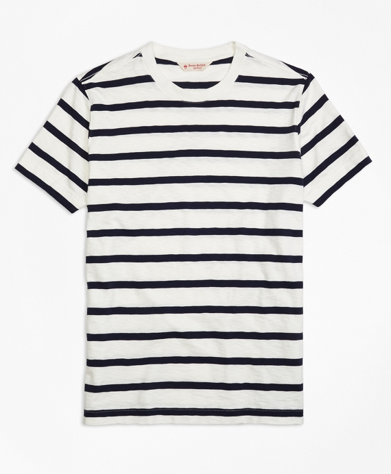 Slub Striped T-Shirt Navy