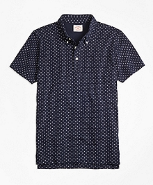 Micro-Dot-Print Polo Shirt