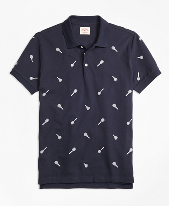 Racquet-Embroidered Polo Shirt