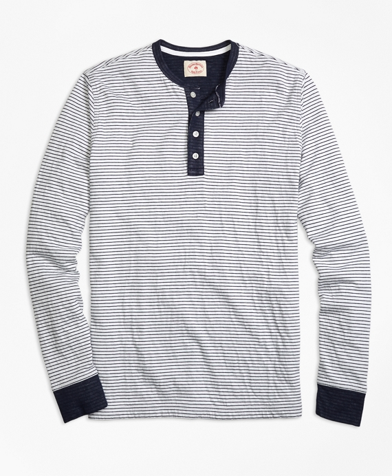 Micro-Stripe Dufold Cotton Henley