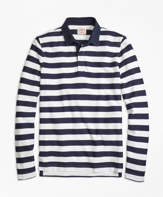 Long-Sleeve Striped Rugby Shirt Navy-White