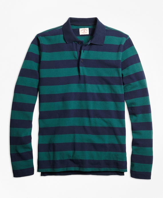 Long-Sleeve Stripe Rugby Shirt Navy-Green