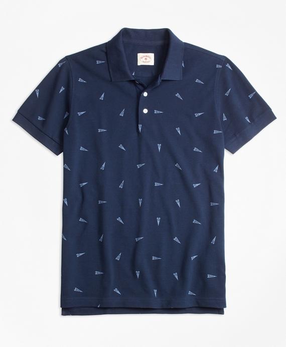 """""""1818"""" Pennant Pique Polo Shirt Navy"""