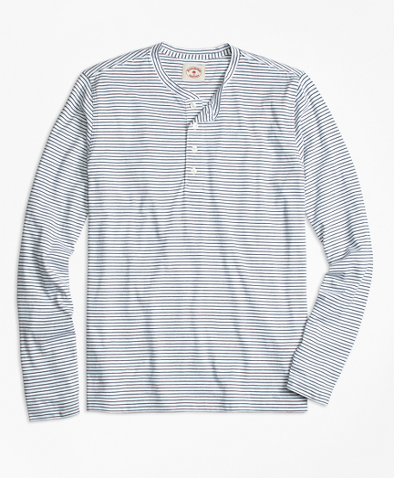 Long-Sleeve Feeder-Stripe Jersey Henley