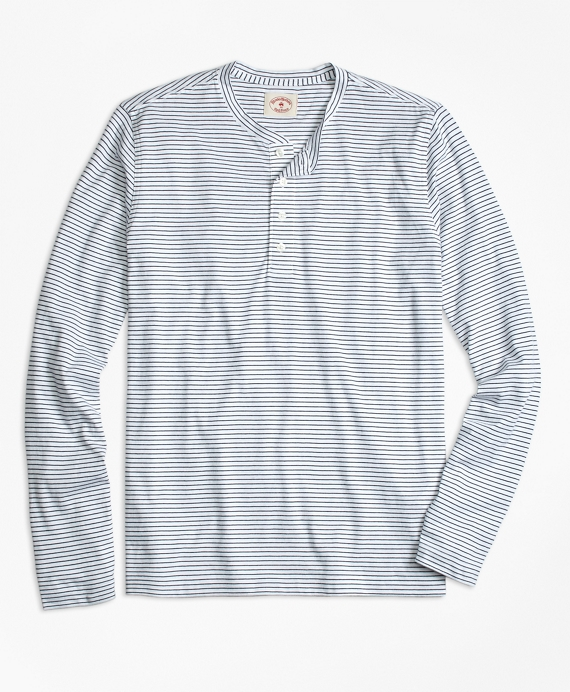 Long-Sleeve Feeder-Stripe Jersey Henley White-Navy