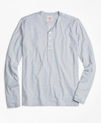 Long-Sleeve Feeder-Stripe Jersey Henley