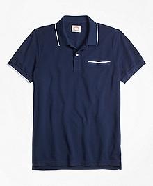 Stripe-Tip Pique Polo Shirt