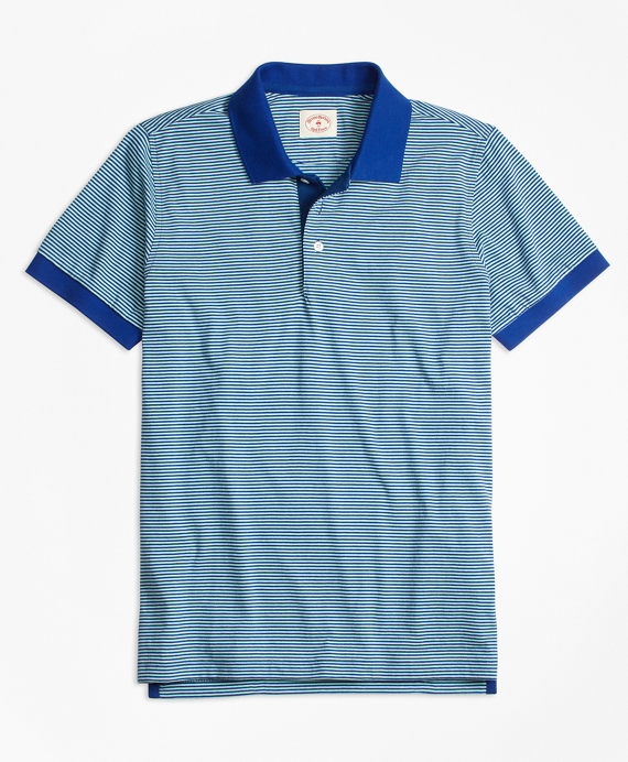 Stripe Pique Polo Shirt Blue-Green