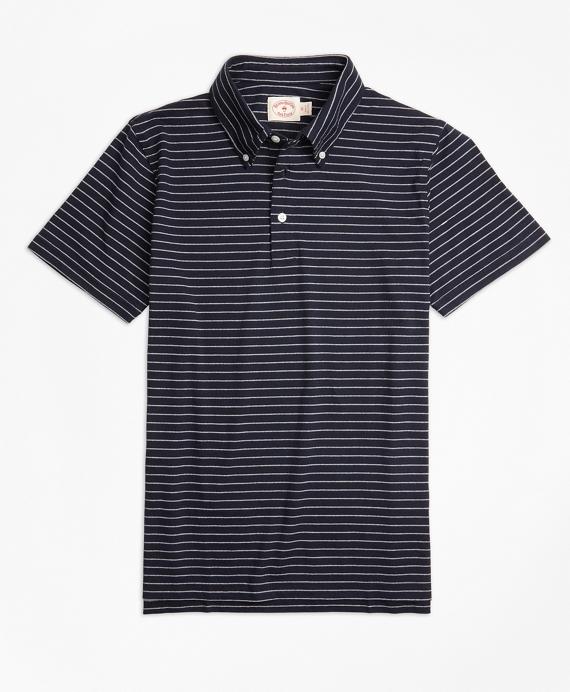 Jacquard Feeder-Stripe Polo Shirt Navy