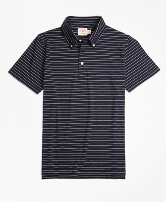 Jacquard Feeder-Stripe Polo Shirt
