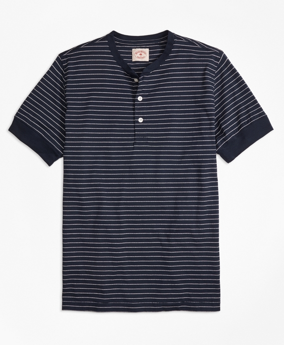 Feeder-Stripe Short-Sleeve Cotton Henley Navy