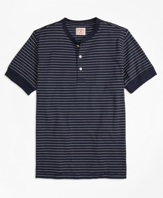 Feeder-Stripe Short-Sleeve Cotton Henley
