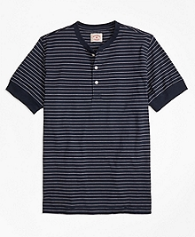 Feeder-Stripe Short-Sleeve Cotton Henley