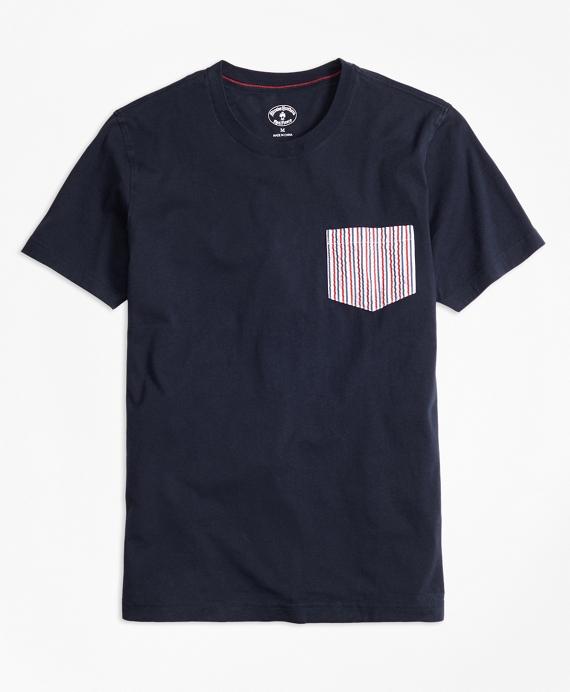 Seersucker-Pocket Cotton T-Shirt Navy