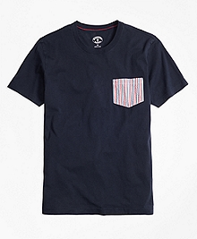 Seersucker-Pocket Cotton Tee Shirt