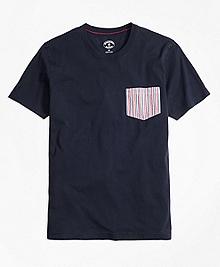 Seersucker-Pocket Cotton T-Shirt