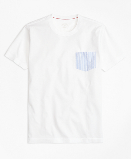 Seersucker-Pocket Cotton T-Shirt