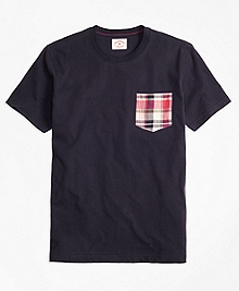 Madras Plaid-Pocket Cotton Jersey Tee Shirt