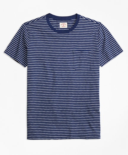 Stripe Cotton Jersey Pocket T-Shirt