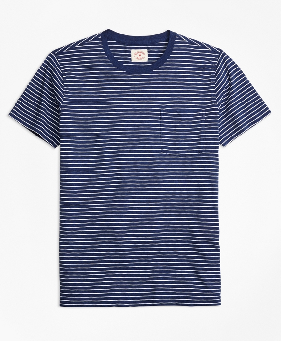 Stripe Cotton Jersey Pocket T-Shirt Indigo-White
